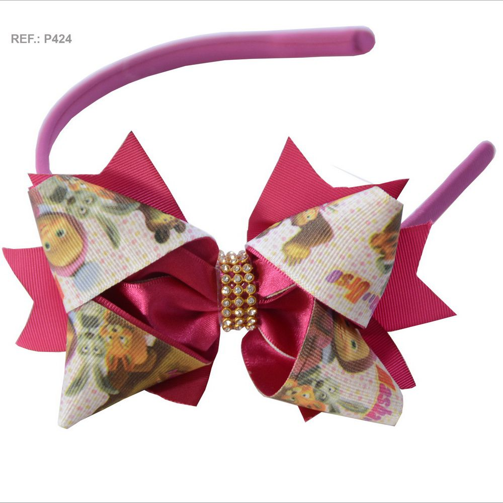 Tiara com laço temático da Masha e o Urso rosa pink
