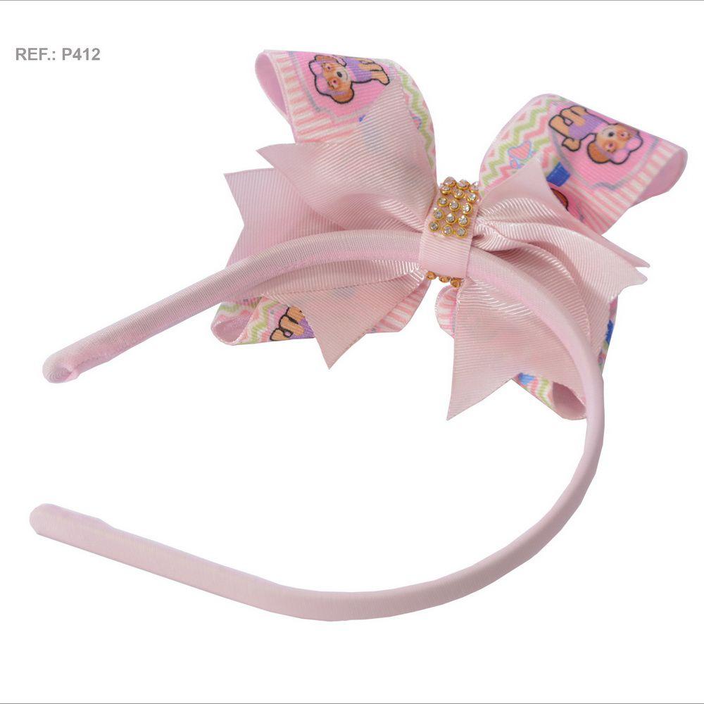 Tiara com laço temático da Sky da patrulha canina  na rosa bebê
