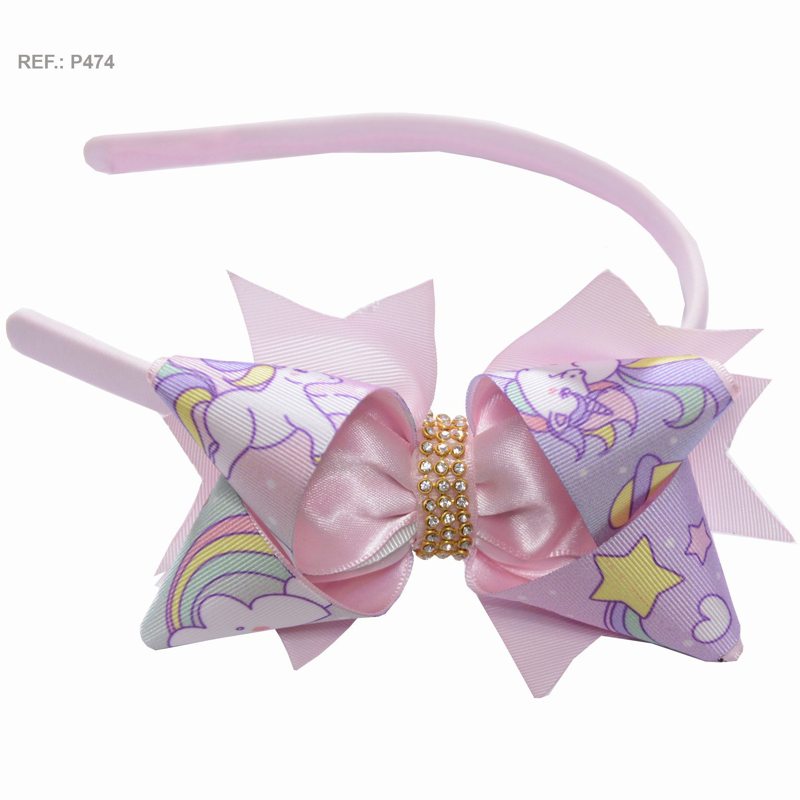 Tiara com laço temático Unicórnios rosa