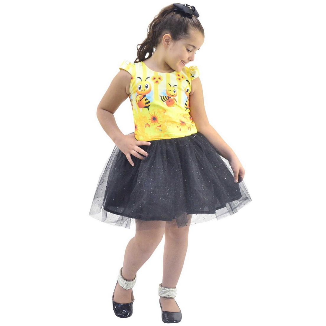 Vestido Abelhinha Bebê Com Saia de Tule Com Glitter