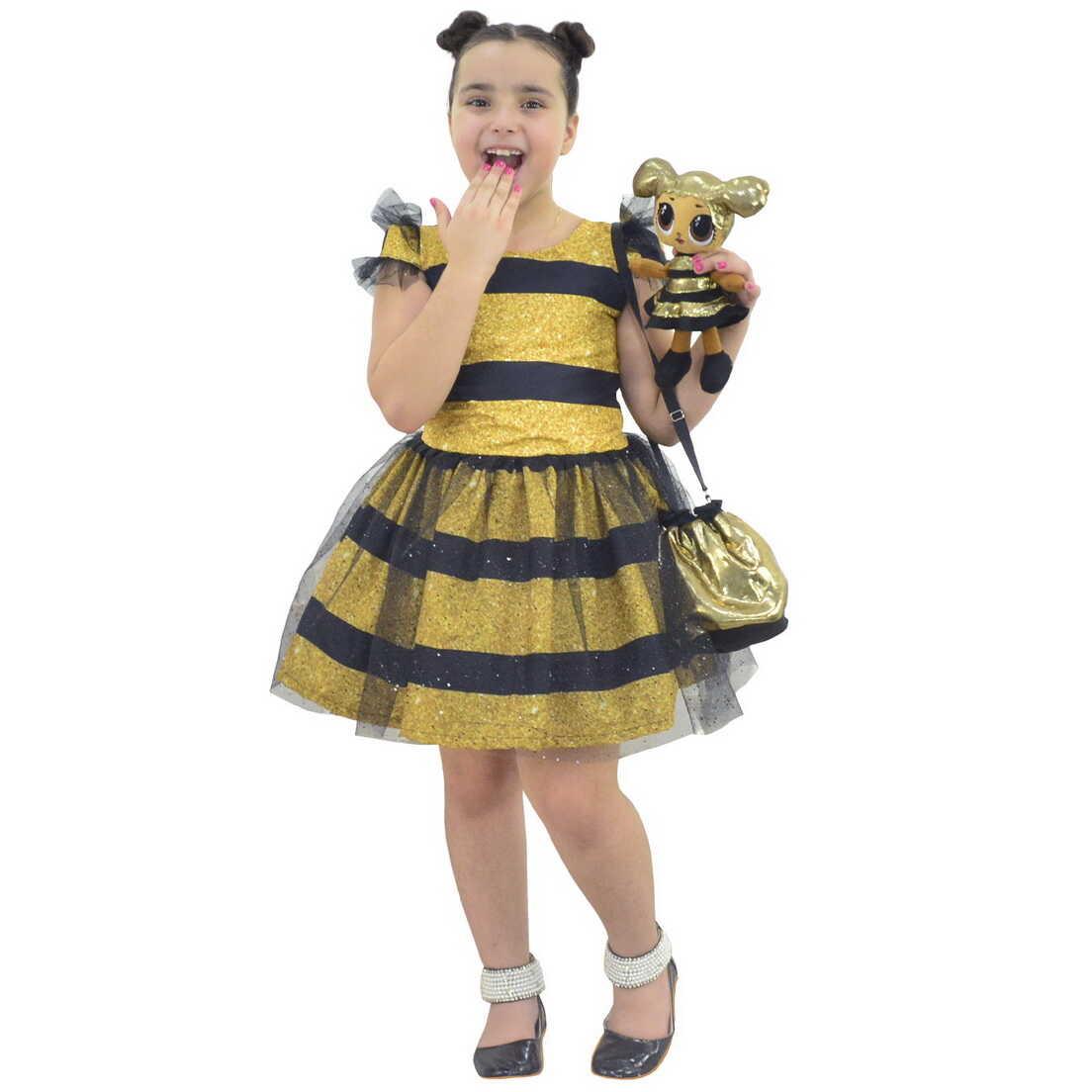 Vestido Abelhinha Estilo Fantasia e Pelúcia Lol Queen Bee