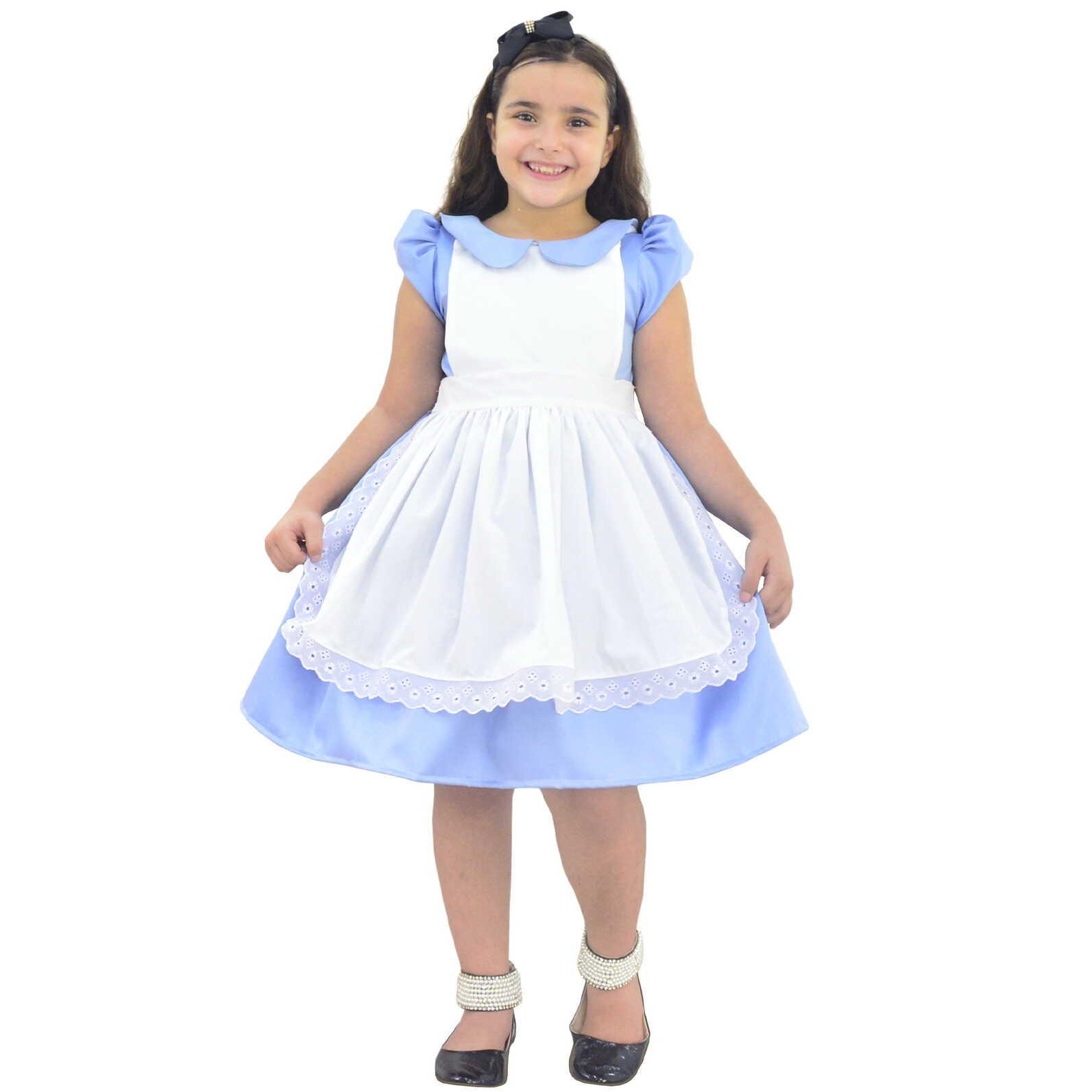 Vestido Alice no País das Maravilhas Luxo Com Avental
