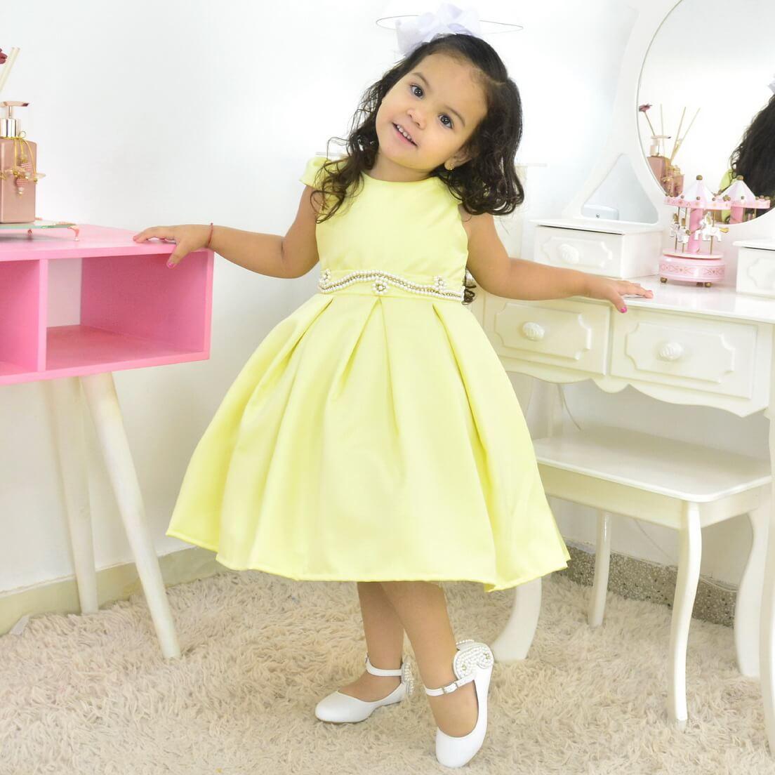 Vestido Amarelo Limão Infantil - Formatura ou Daminha de Casamento