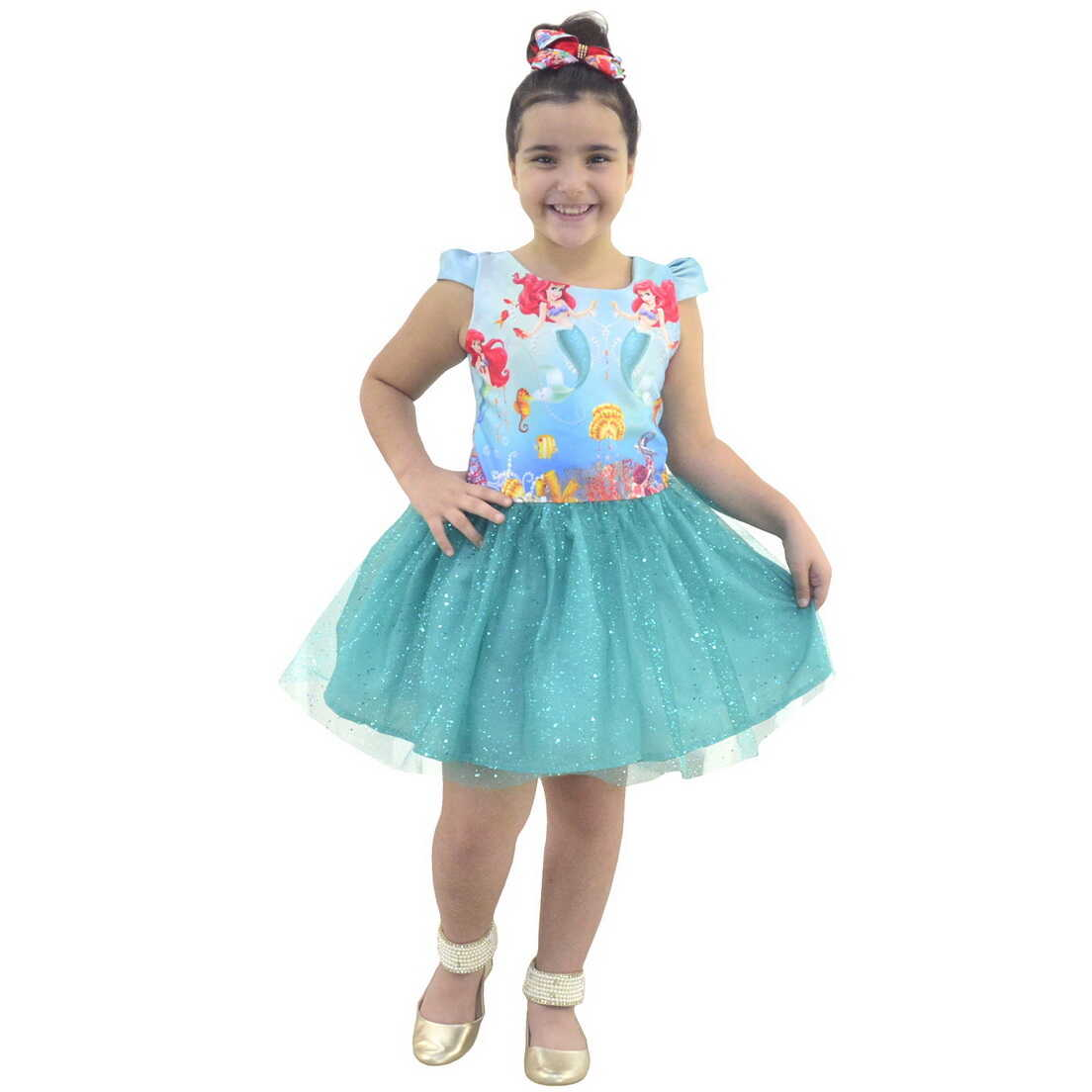 Vestido Ariel Pequena Sereia Saia Verde de Tule Com Glitter