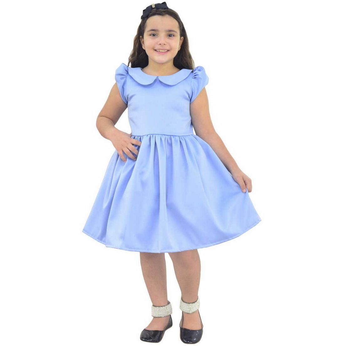 Vestido Azul Celeste infantil Com Golas Baixas