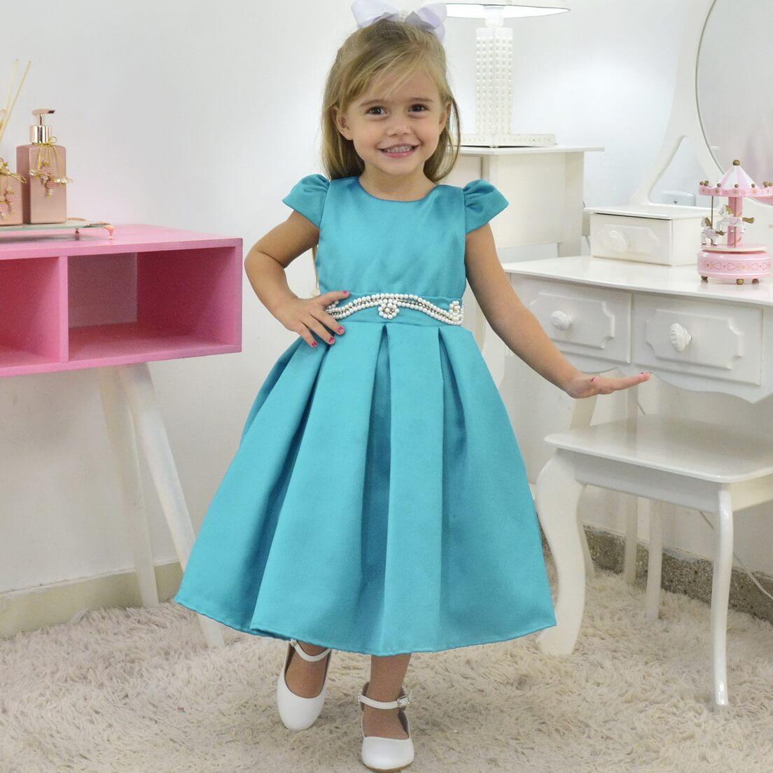 Vestido Azul petróleo Esverdeado Infantil Formatura Daminha