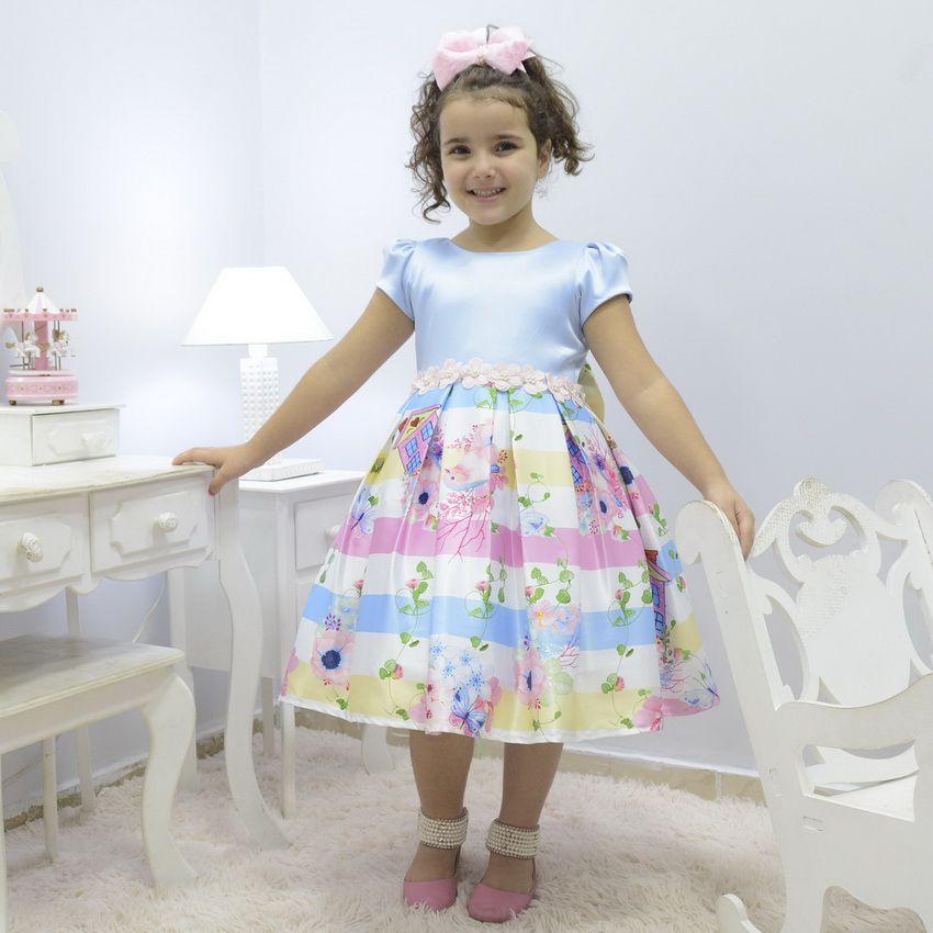 Vestido azul infantil Jardim Encantado com pássaros e borboletas