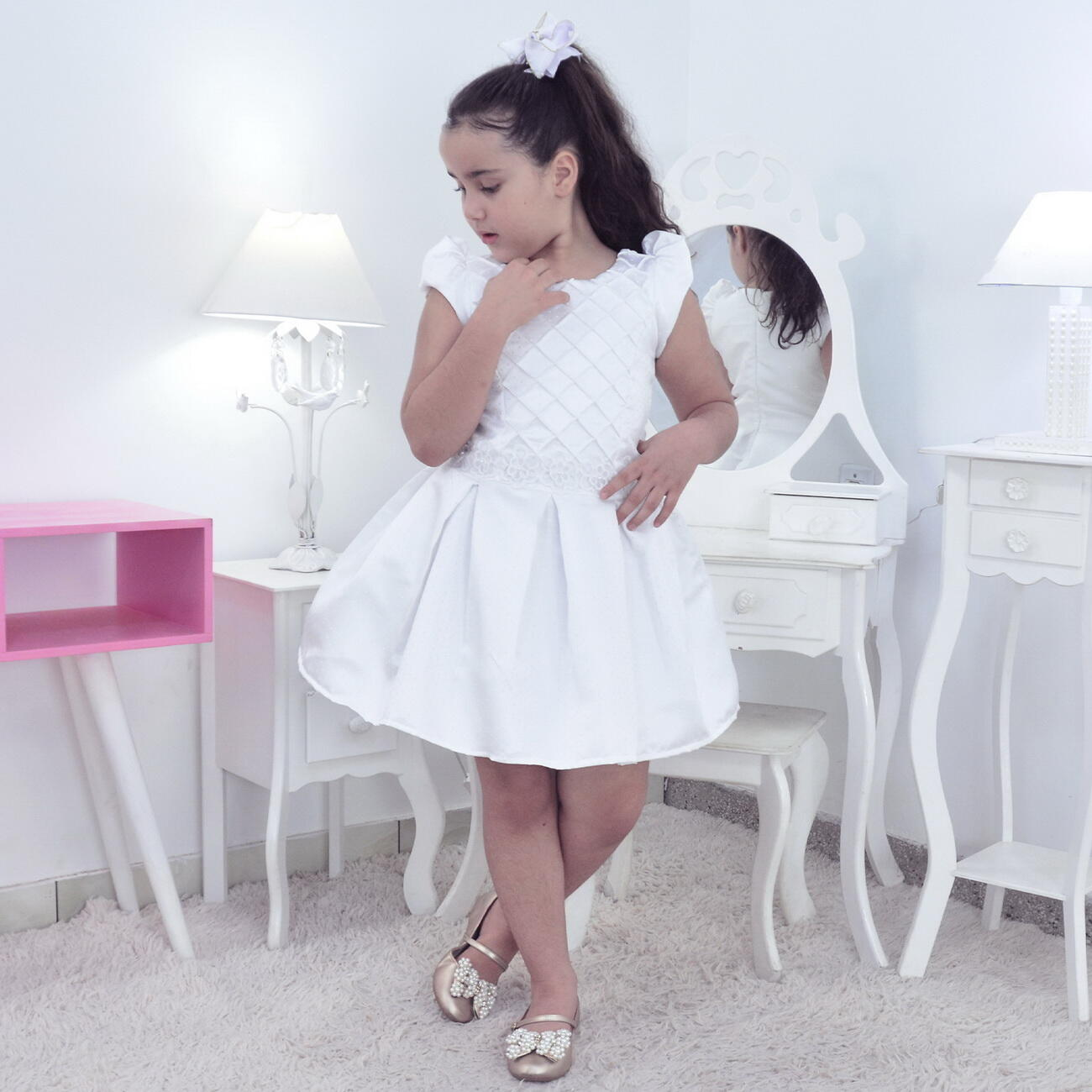 Vestido Branco Com Renda - Comunhão de Menina