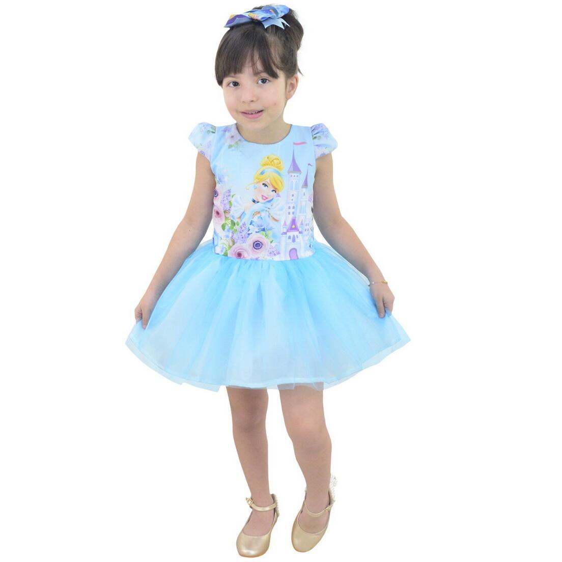 Vestido da Cinderela Com Saia de Tule(Tutu)