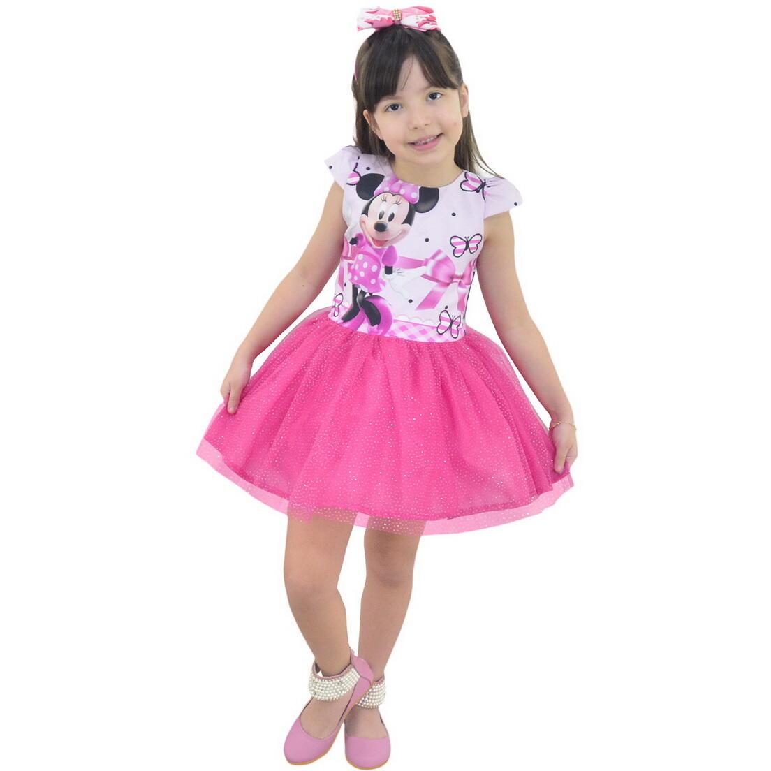 Vestido da Minnie Rosa Saia de Tule(Tutu) Com Glitter