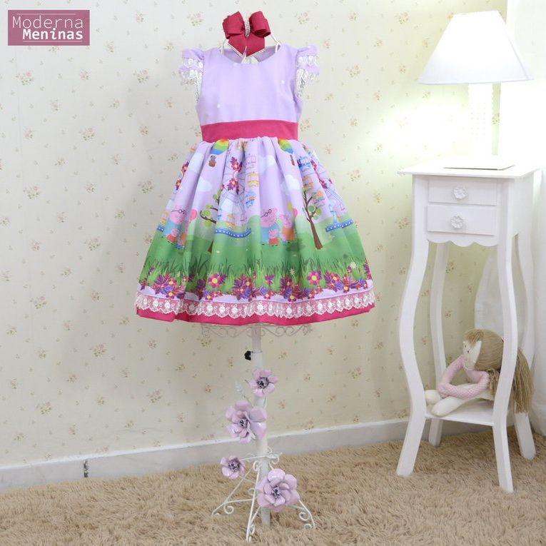 Vestido da peppa pig festa infantil superluxo
