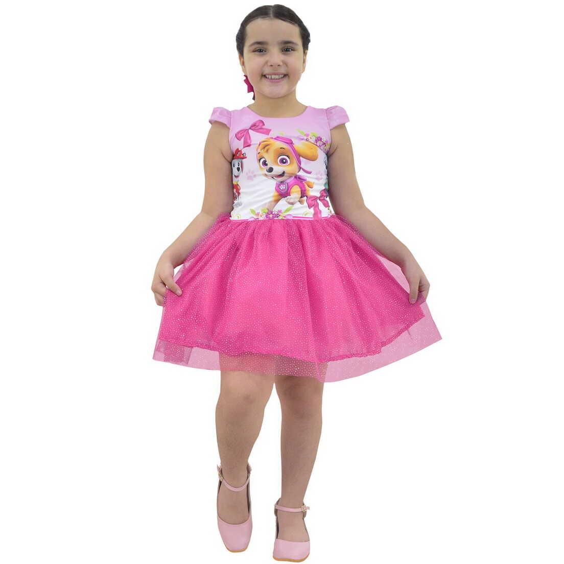Vestido da Skye Patrulha Canina Saia Rosa de Tule Com Glitter