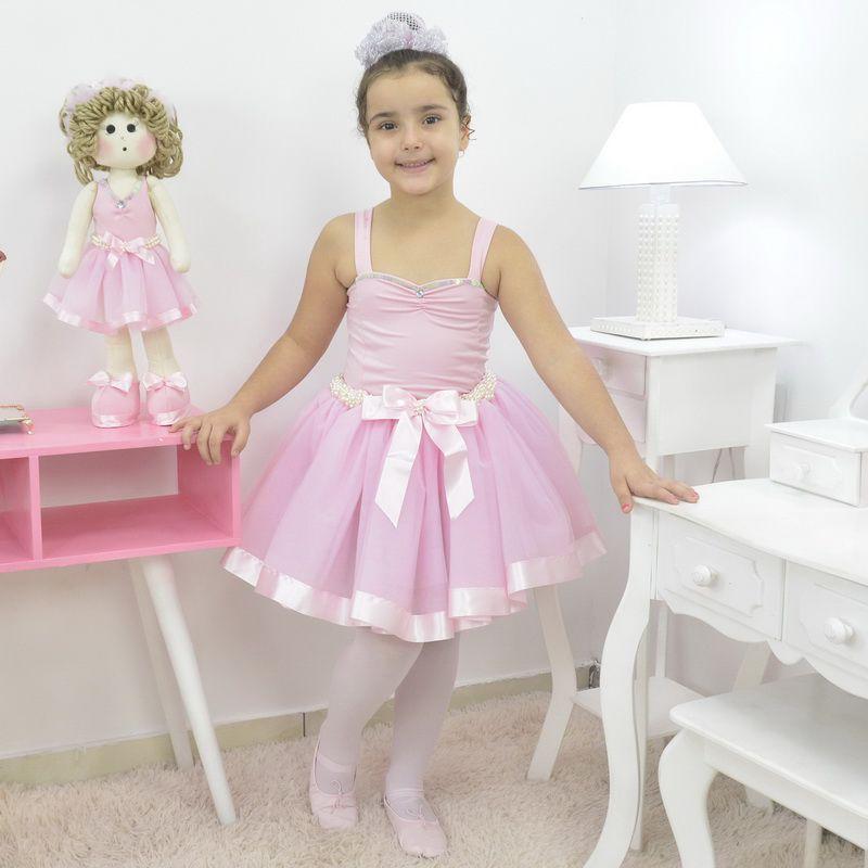 Vestido de Bailarina rosa com bordado - conjunto Ballet completo