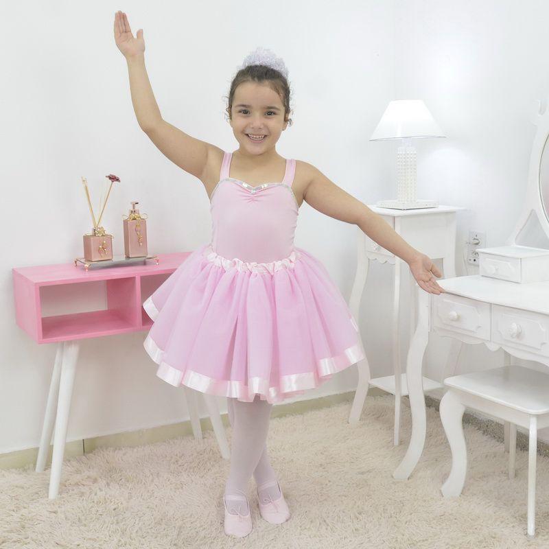 Vestido de Bailarina rosa - Conjunto Ballet completo com sapatilha