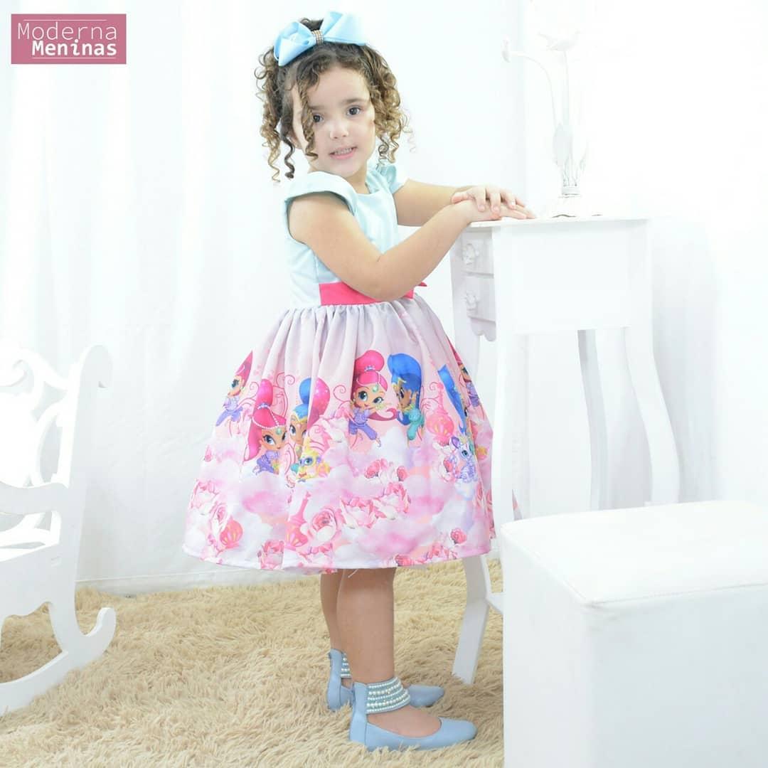 Vestido de festa infantil das gêmeas Shimmer e Shine