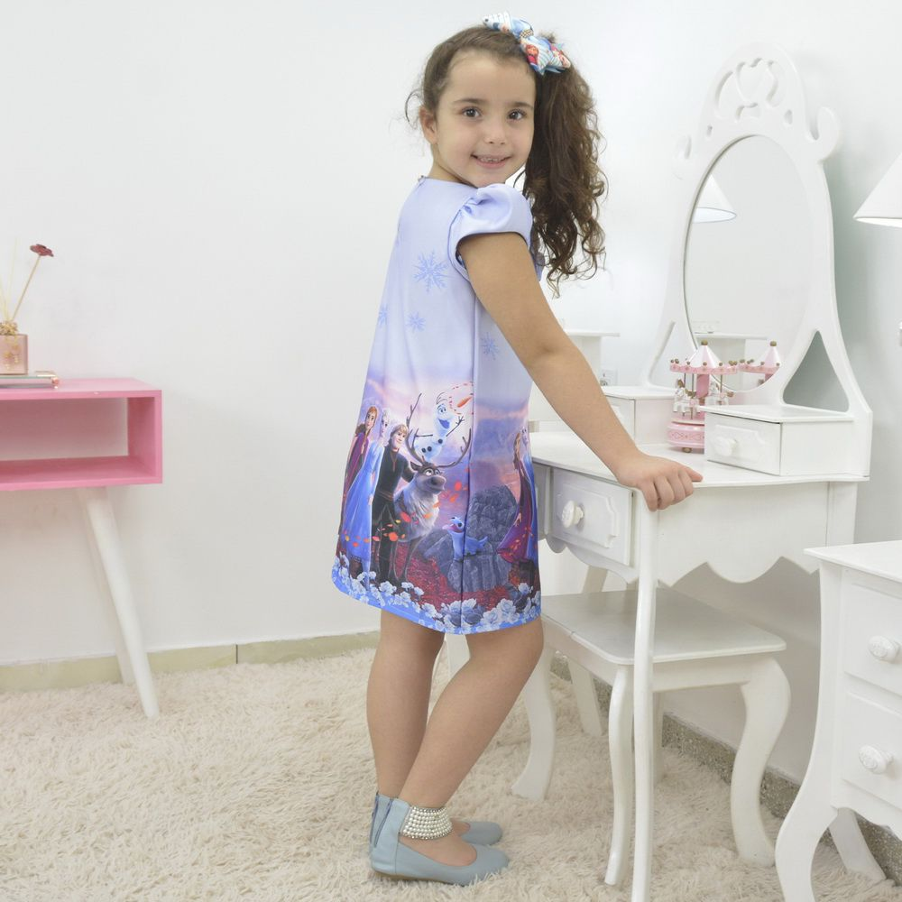 Vestido de menina tema Frozen 2 - Elsa e Anna azul trapézio