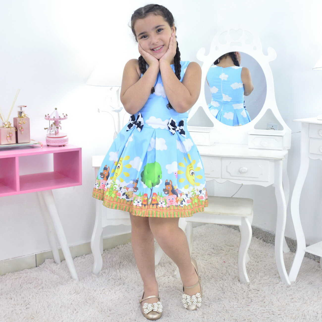 Vestido Fazendinha Azul Infantil