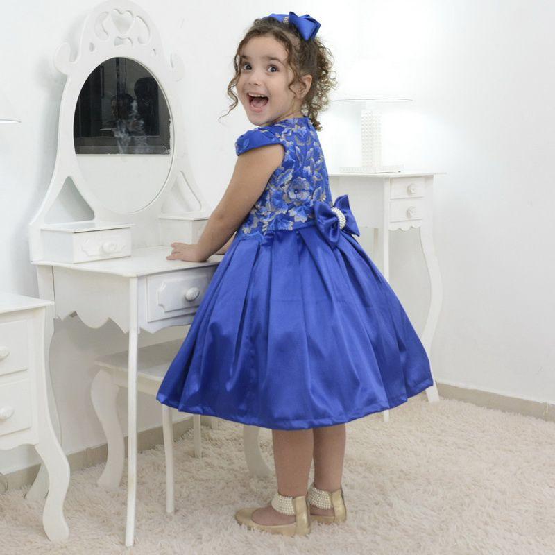 Vestido festa infantil azul com tule francês com bordado floral