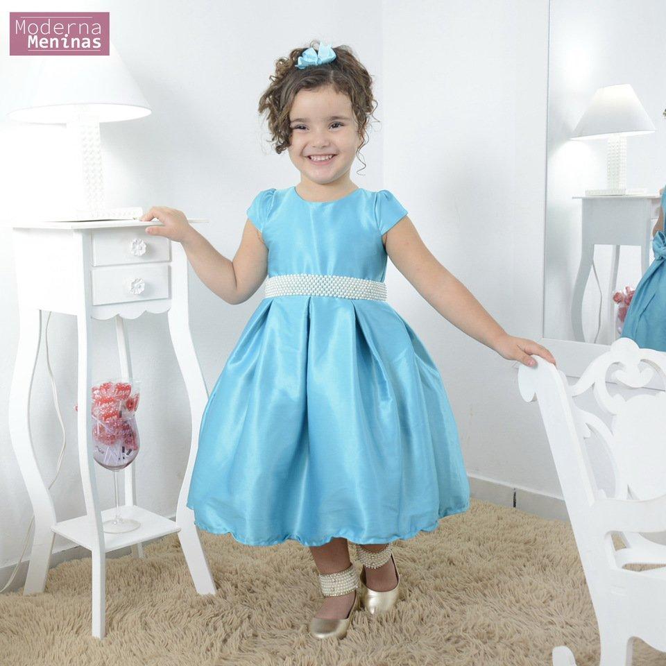Vestido festa infantil azul tiffany cor única com bordado em pérolas