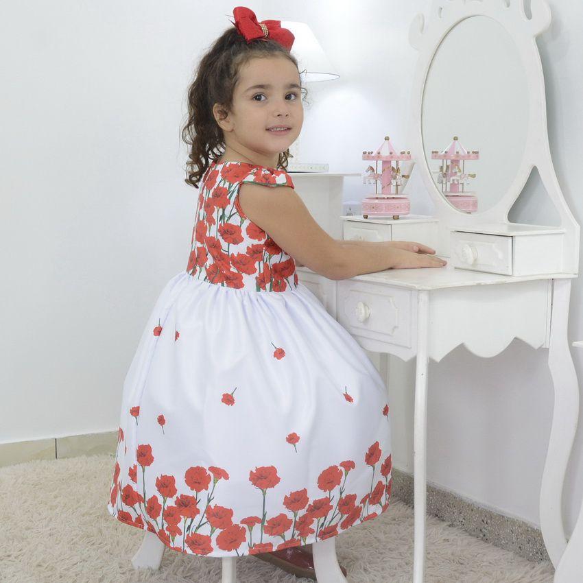 Vestido festa Infantil branco floral com rosas vermelhas
