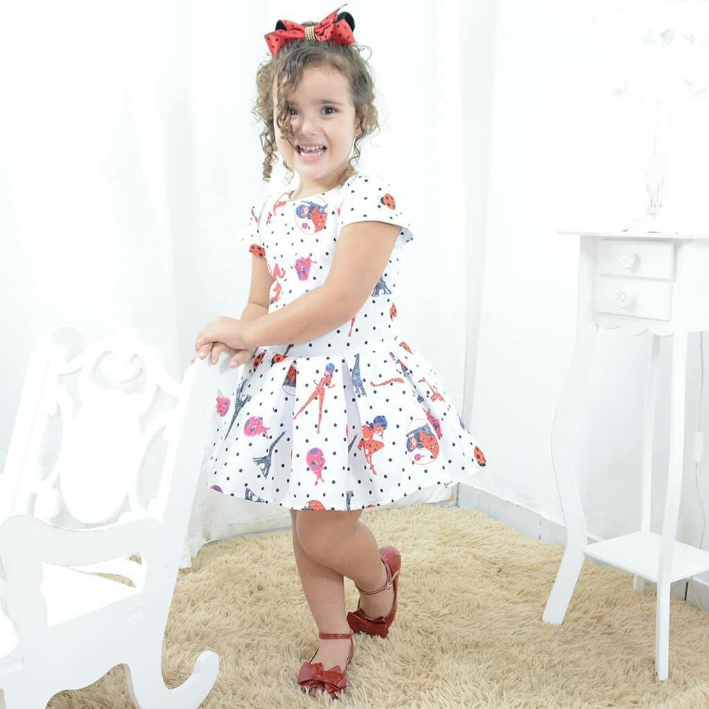 Vestido festa infantil branco tema da Ladybug Miraculous