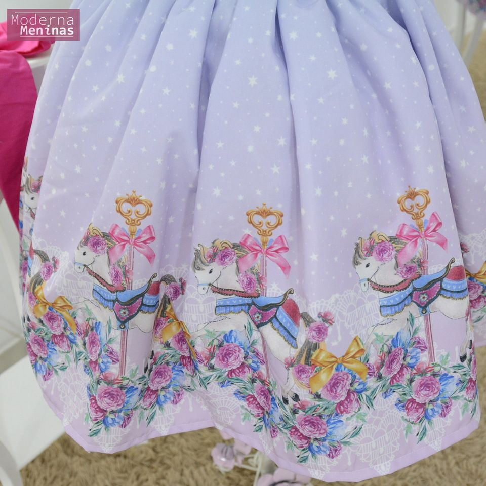 Vestido festa infantil carrossel com laço superluxo