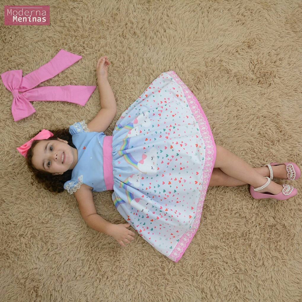 Vestido festa infantil chuva de amor e bençãos