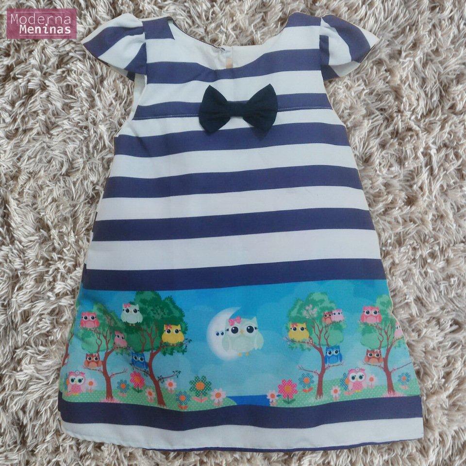 Vestido festa infantil com estampa de corujas – tubinho trapézio