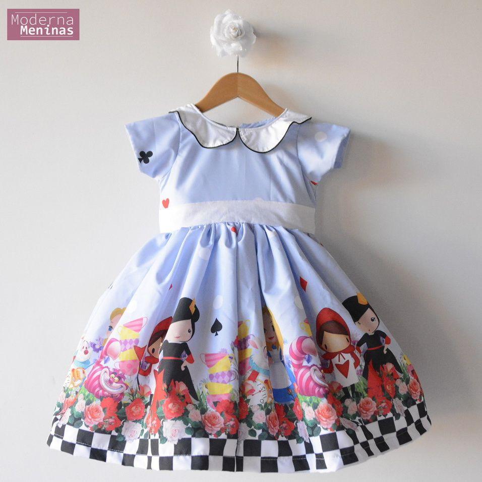 Vestido festa infantil da Alice no País das Maravilhas