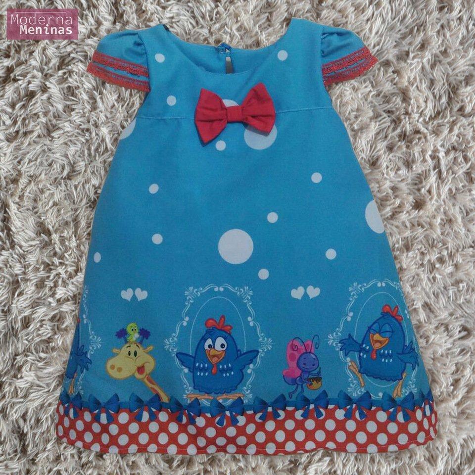 Vestido festa infantil da Galinha Pintadinha – tubinho trapézio