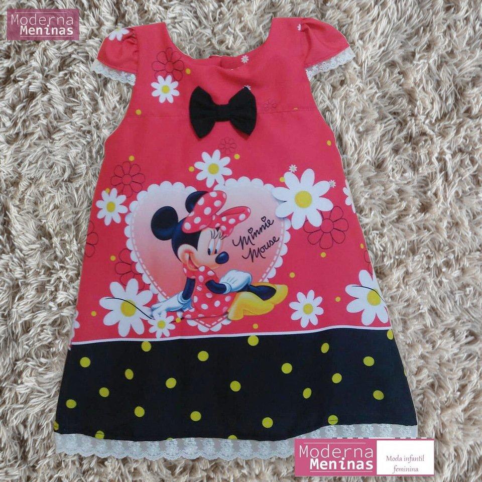 vestido festa infantil da Minnie vermelha – tubinho trapézio