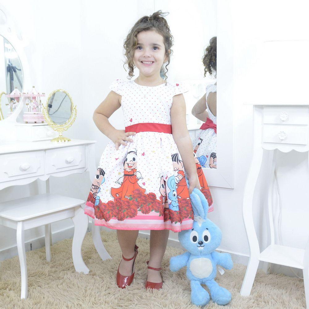 Vestido infantil da Mônica e o coelho Sansão com rosas vermelhas