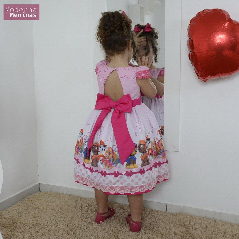 Vestido festa infantil da Patrulha Canina rosa
