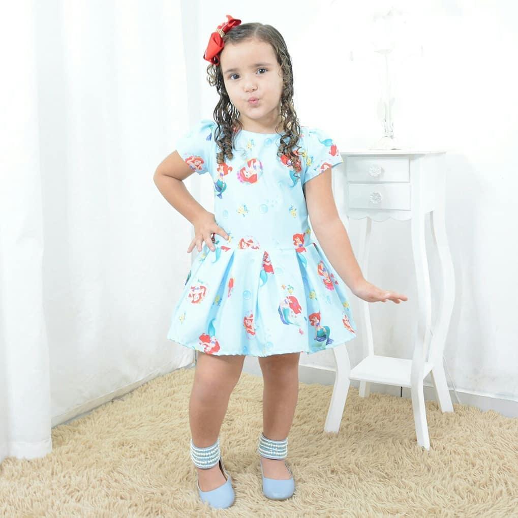 Vestido festa infantil da pequena sereia Ariel