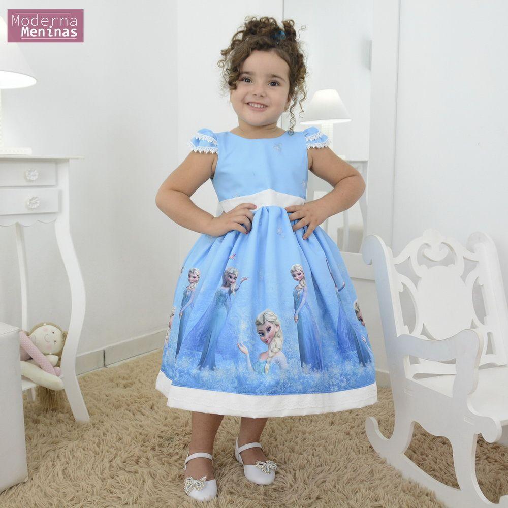 Vestido festa infantil da rainha da neve Elsa - Frozen