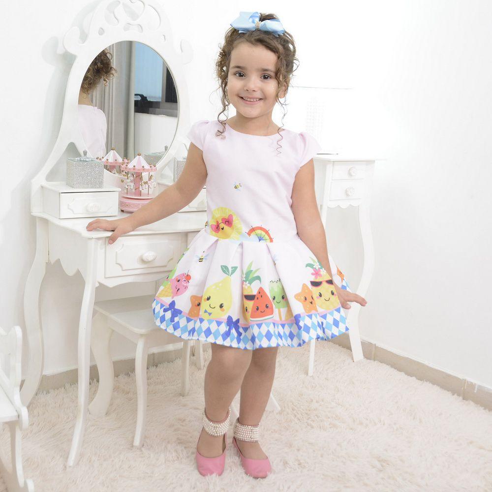 Vestido festa infantil das frutas, abelhinhas e sorvetes - smart