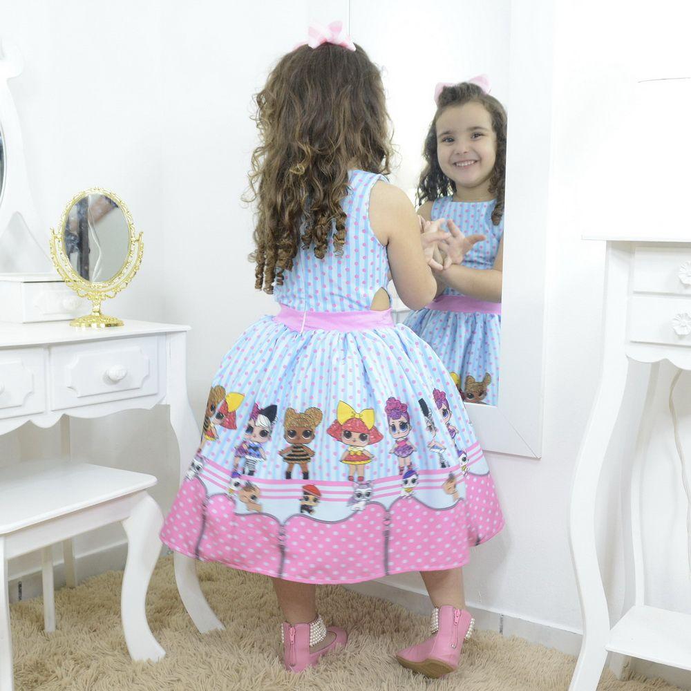 Vestido festa infantil das mínis bonecas Lol surprise azul e rosa