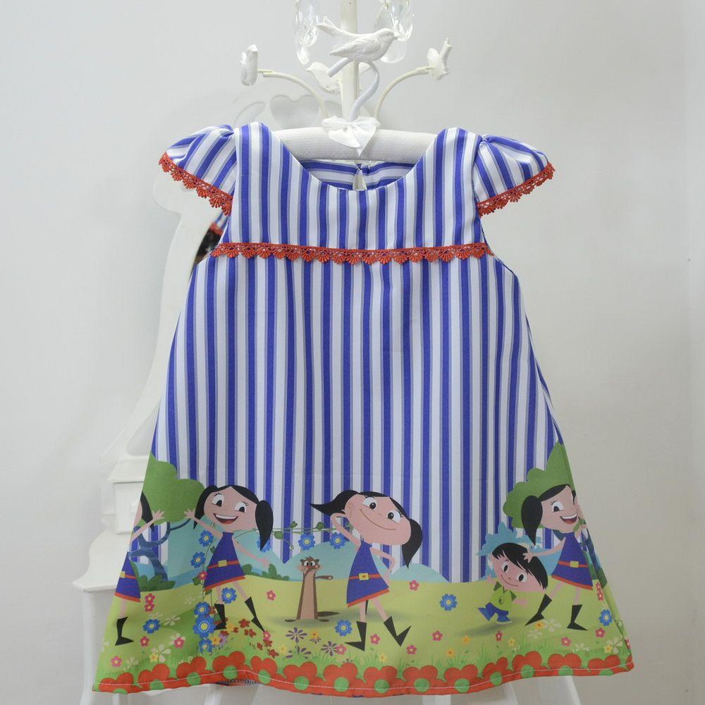 Vestido festa infantil do show da Luna – tubinho trapézio