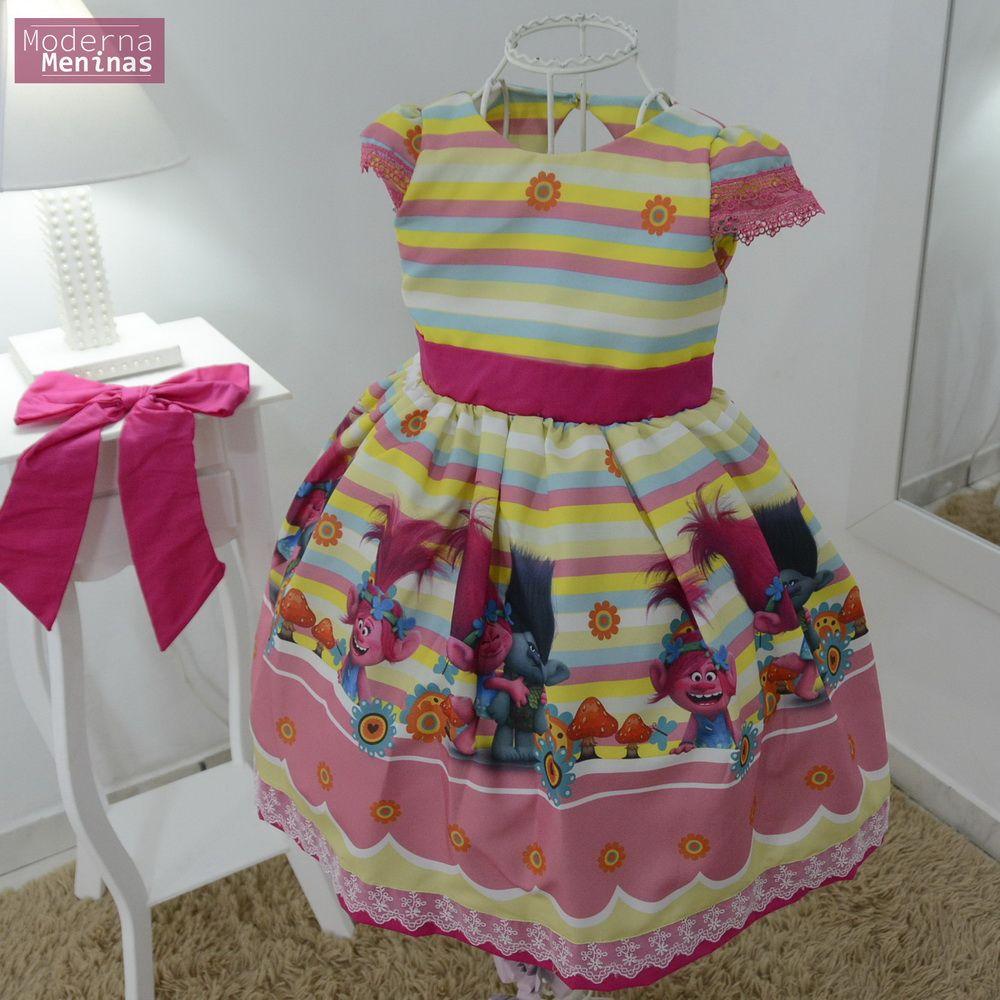 Vestido festa infantil dos trolls com laço superluxo