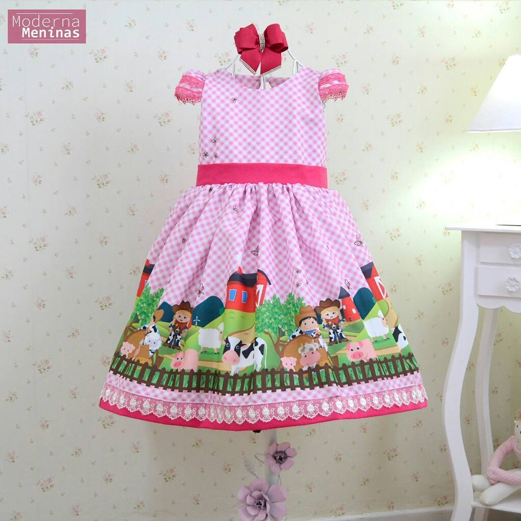 Vestido festa infantil tema fazendinha rosa