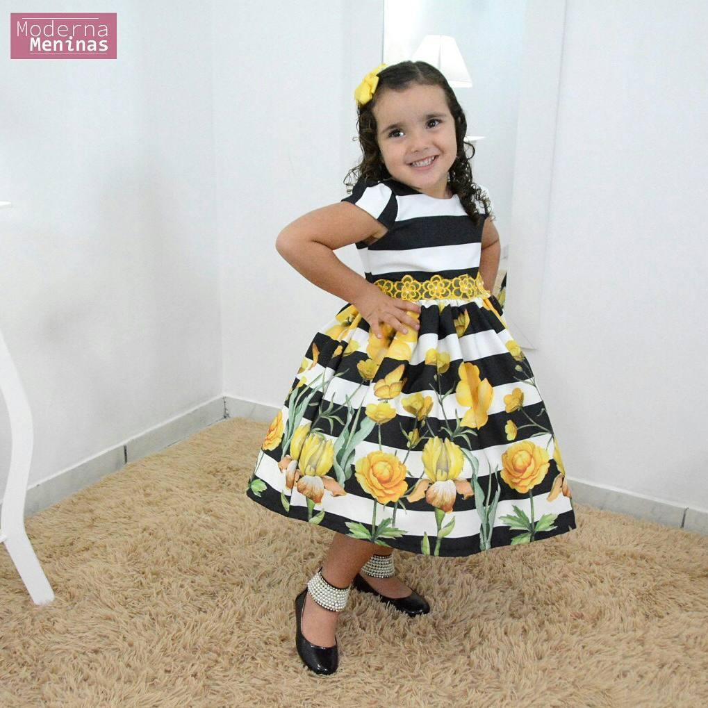 Vestido festa infantil floral rosas amarelas
