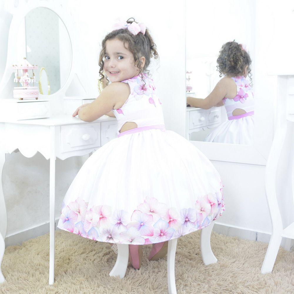 Vestido infantil jardim encantado floral com rosas e pérolas