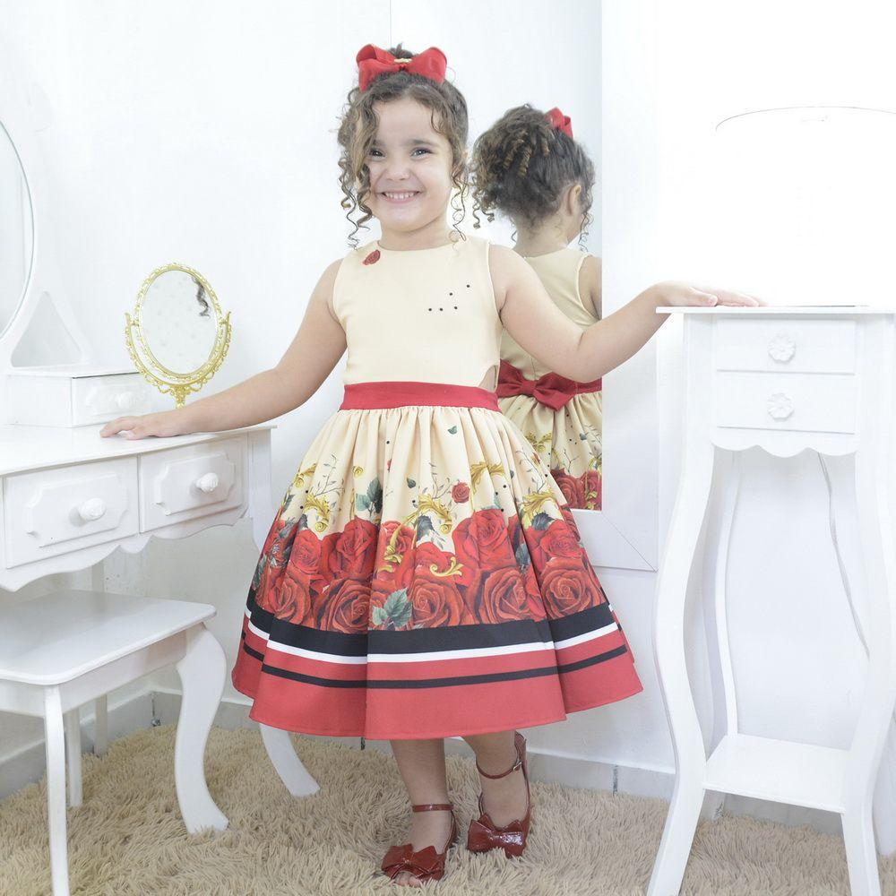 Vestido infantil jardim encantado floral com rosas vermelhas