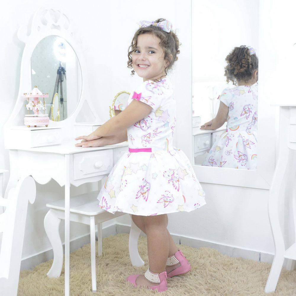 Vestido festa infantil princesa unicórnio e arco-íris smart