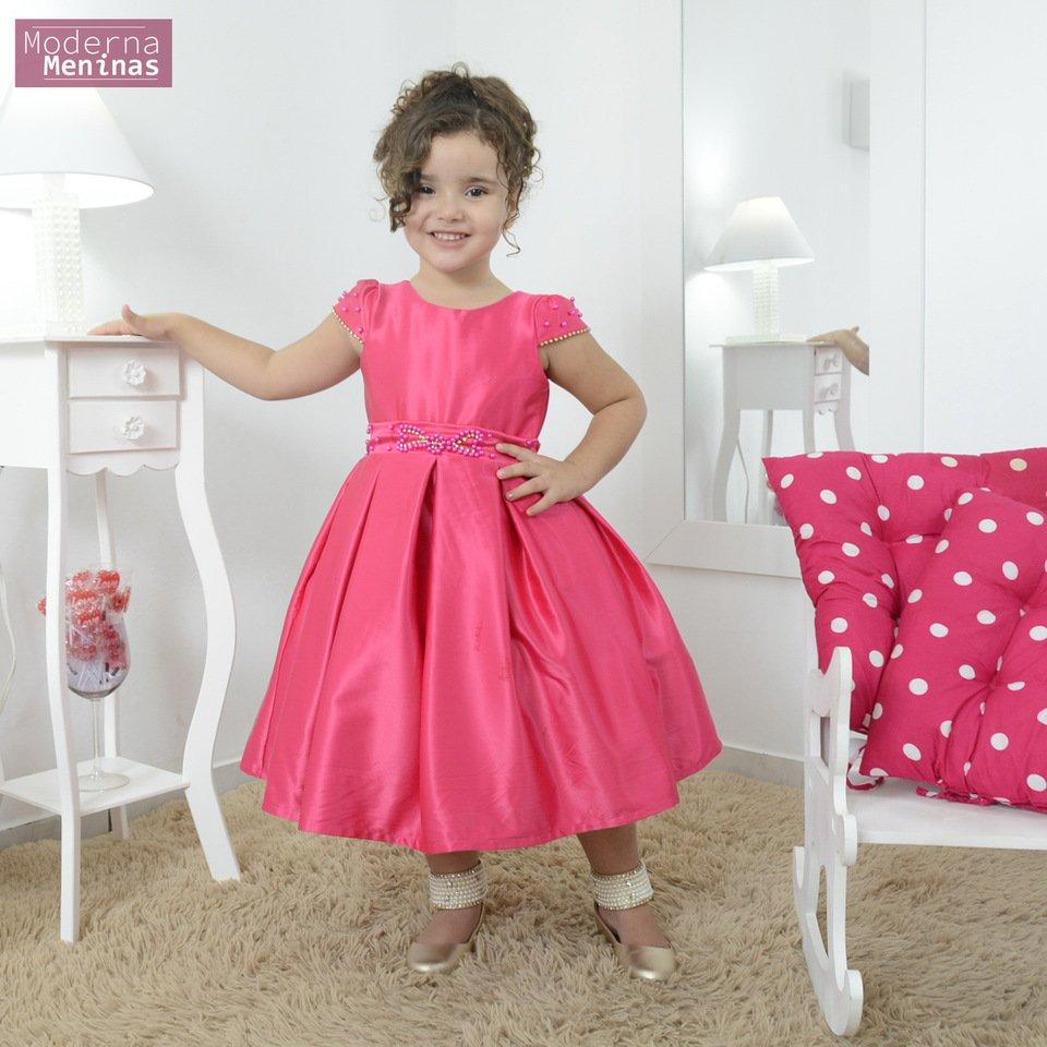 Vestido festa infantil rosa cor única com bordado em pérolas