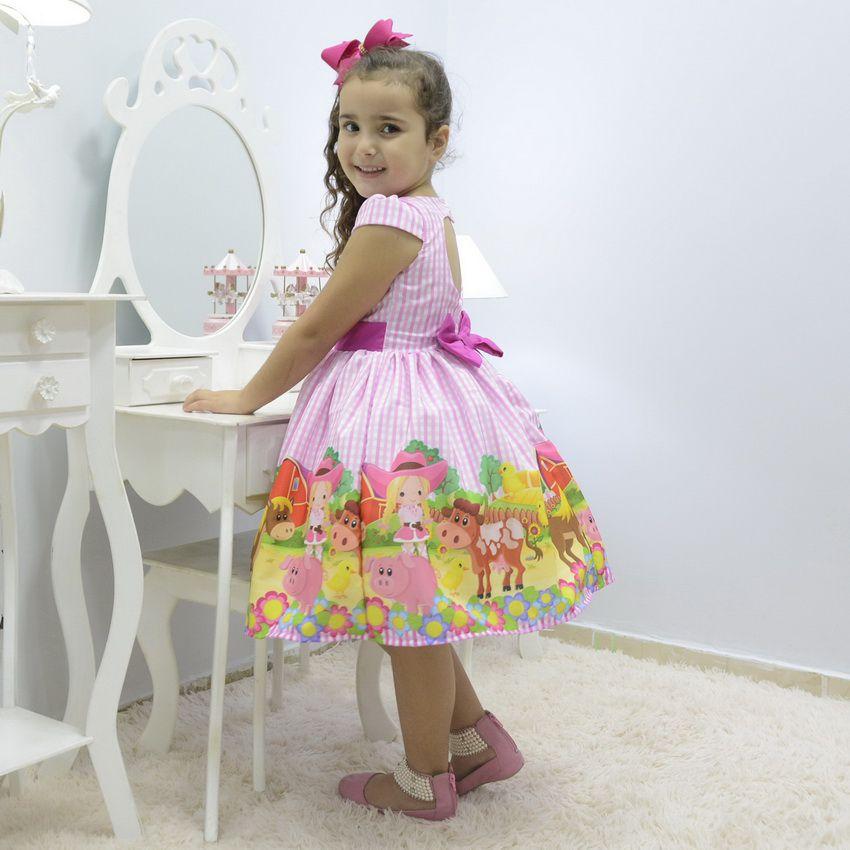 Vestido festa infantil tema fazendinha xadrez rosa