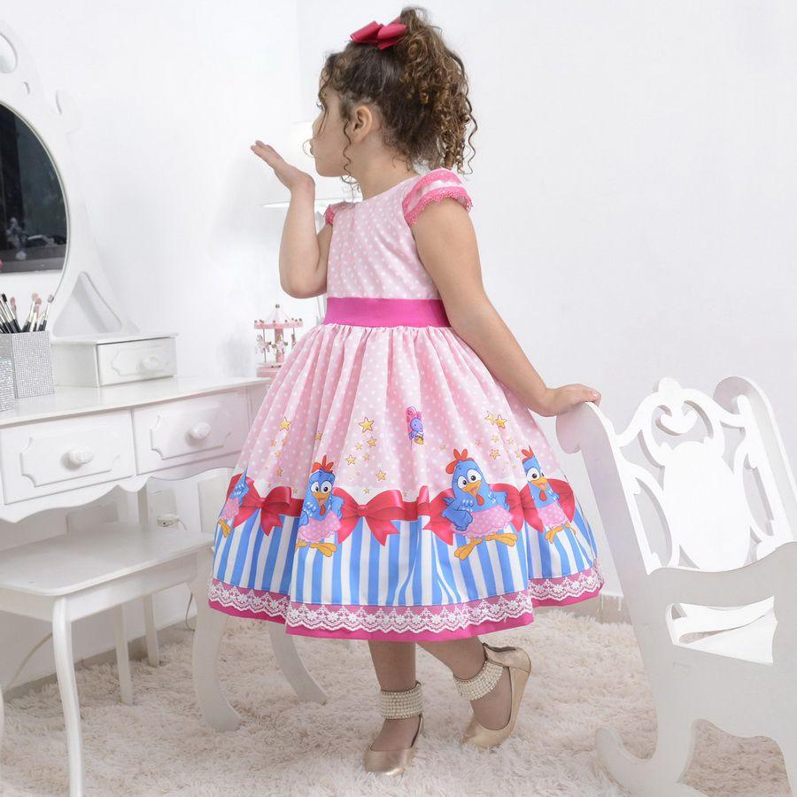 Vestido festa infantil tema galinha pintadinha rosa