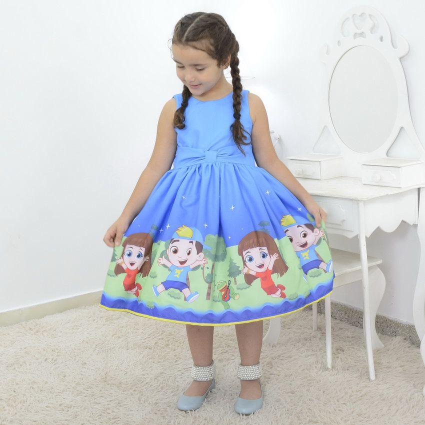 Vestido festa Infantil tema Luccas Neto e Gi
