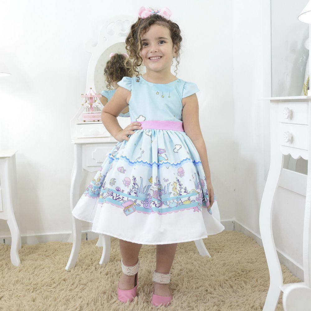 Vestido festa infantil tema sereias e tesouros no fundo