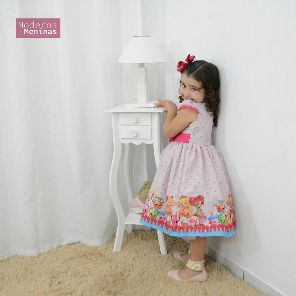 Vestido festa infantil tema Shopkins